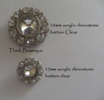 Arylic rhinestone button in clear color