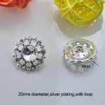 High quality rhinetone button with loop silver plating