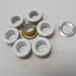 Round shape metal eyelet in white color for clothing